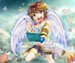 3ds :d angel azumi@twitter azumi_(tks-sd) balunka belunka blue_eyes brown_hair commyloose company_connection ears foreshortening kid_icarus kid_icarus_uprising komayto looking_at_viewer male metroid monoeye nintendo nintendo_3ds open_mouth pit pit_(kid_icarus) sky smile solo specknose stylus teeth wings