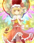black_legwear blonde_hair blush bunchou_(bunchou3103) finger_to_mouth flandre_scarlet hat hat_ribbon highres red_eyes ribbon side_ponytail smile solo thighhighs touhou wings