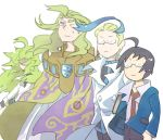 4boys ahoge akuroma_(pokemon) black_hair blonde_hair book cheren_(pokemon) geechisu_(pokemon) ghetsis_(pokemon) glasses green_hair hamachi_(kuchiba) labcoat n_(pokemon) pokemon pokemon_(game) pokemon_bw pokemon_bw2 pokemon_games sweatdrop team_plasma wooshy_hair