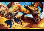 armor artist_request capcom claws desert helmet hunter's_armor hunter's_armor hunter_(armor) letterboxed monster monster_hunter open_mouth running ryuuta_(ipse) sand scales sharp_teeth sword tigrex weapon wyvern