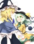 1girl blonde_hair blush braid capelet dress eyeball green_eyes green_hair hat heart husui_parashi kirisame_marisa komeiji_koishi long_hair multiple_girls open_mouth ribbon short_hair silver_hair skirt smile third_eye touhou witch witch_hat yellow_eyes