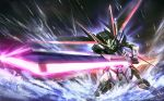 glowing glowing_eyes gundam gundam_seed gundam_seed_destiny impulse_gundam mecha no_humans solo sunrise_stance sword water weapon zhenlin