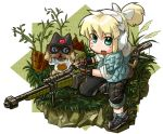 binoculars blonde_hair boned_meat bow_(weapon) crossbow crossover ear_protection fingerless_gloves food gloves green_eyes gun iris_(material_sniper) material_sniper meat monster_hunter monster_hunter_portable_3rd reflection reloading rifle scope short_ponytail shorts sleeveless sleeves_rolled_up sniper_rifle sweatdrop toriny weapon