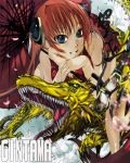 2012 blue_eyes cherry_blossoms china_dress chinese_clothes dragon dragon_ball eastern_dragon gintama glasses hair_ornament highres kagura kagura_(gintama) nyami orange_hair red_hair redhead sharp_teeth smile solo star umbrella