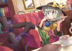 black_legwear book boots bow cake chair cup eating eyeball food green_eyes green_hair hat hat_bow heart heart_of_string komeiji_koishi kurotama_(avino) lamp lying on_back open_mouth plate saucer short_hair skirt solo teacup thigh-highs thighhighs third_eye touhou
