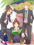 blue_(pokemon) brown_hair closed_eyes exeggutor flower formal hat kasabuta oddish ookido_green ookido_green_(frlg) pokemon pokemon_(creature) pokemon_(game) pokemon_frlg red_(pokemon) red_(pokemon)_(remake) smile tangela tegaki