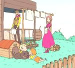barrel basket blonde_hair bone brown_hair bush child claus closed_eyes cowboy cowboy_hat dog doghouse dress eyes_closed facial_hair family fence flint flower flower_bed grass hat hinawa laundry lucas mother_(game) mother_3 mustache orange_hair pink_dress sasa_(:disposition) solid_circle_eyes vest western