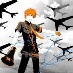 airplane bleach cable cord gloves koi_wa_sensou_(vocaloid) kurosaki_ichigo male megaphone necktie orange_hair parody short_hair silhouette vocaloid white_skin yuzu_ra