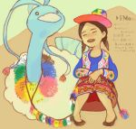 1girl altaria beso bird colorful cultural drawr embroidery female hat long_skirt native_american open_mouth patterned peru pokemon sitting skirt smile traditional_clothes twintails vest zig-zag