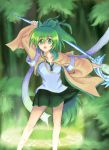 1girl blush bravespiritya breasts duel_monster green_eyes green_hair highres jacket long_hair magic_circle open_mouth ponytail skirt smile staff wynn yuu-gi-ou yuu-gi-ou_duel_monsters