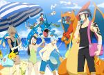 bangs bare_legs bare_shoulders beach bikini black_hair blonde_hair brown_hair charizard eating food glasses gyarados happy holding ice_cream long_hair meowth mudkip ninetales ntdevont ocean original pikachu pokemon popsicle riding short_hair shorts sky smile summer surprised swimsuit treecko tube umbrella visor_cap water white_hair wingull