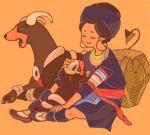 beso dog drawr earrings houndoom houndour jewelry orange_background petting pokemon puppy yawning
