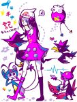 1girl ambipom black_hair drifloon glameow hair_ornament hat heart hikari_(pokemon) hikari_(pokemon)_(remake) mismagius murkrow ny@co pokemon pokemon_(creature) pokemon_(game) pokemon_dppt scarf sneasel tegaki winter_clothes