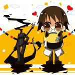 animal_helmet bikesuit brown_eyes brown_hair celty_sturluson darkness durarara!! eriko_(chika) glasses heart helmet kishitani_shinra scythe