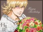 barnaby_brooks_jr birthday blonde_hair bouquet flower glasses green_eyes happy_birthday jacket kkkrrrooo male red_jacket solo tiger_&_bunny