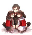 bag brown_hair durarara!! glasses hoodie looking_back miniskirt orihara_izaya orihara_kururi orihara_mairu pun2 randoseru red_eyes siblings skirt young