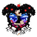 apple apple_core black_hair durarara!! eriko_(chika) food frame fruit fur_trim jacket mushroom orihara_izaya red_eyes skull snake solo star tree