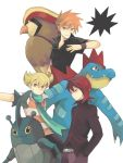 3boys blonde_hair feraligatr heracross jun_(pokemon) koiwai_(waiwaiyyy) multiple_boys ookido_green ookido_green_(frlg) orange_hair pidgeot pokemon pokemon_(creature) pokemon_(game) pokemon_dppt pokemon_frlg pokemon_hgss red_hair redhead scarf silver_(pokemon) tegaki
