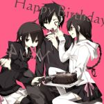 braid brown_hair cake ciel_arc durarara!! food glasses heart hoodie knife orihara_izaya orihara_kururi orihara_mairu red_eyes siblings thigh-highs thighhighs
