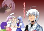 3girls animal_ears be_(o-hoho) blue_hair blush bunny_ears empty_eyes glasses handshake hat heida_no_akyuu hieda_no_akyuu highres jojo_no_kimyou_na_bouken kamishirasawa_keine lavender_hair long_hair morichika_rinnosuke multiple_girls naruto orange_eyes parody pink_hair purple_hair rabbit_ears red_eyes reisen_udongein_inaba serious shameimaru_aya shameimaru_aya_(crow) sharingan short_hair tokin_hat touhou translated translation_request white_hair