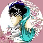 black_hair brother_and_sister circle flower hiei lowres red_eyes rotational_symmetry siblings yukina yuu_yuu_hakusho