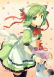 absurdres animal_ears apron birthday black_legwear bowtie cake candle food green_eyes green_hair greenwood h2so4 hair_ribbon highres looking_at_viewer midori_(greenwood) original pastry ribbon short_hair smile solo thigh-highs thighhighs waitress wrist_cuffs