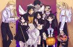 6+boys alphonse_elric basket bat blonde_hair broom candy checkerboard_cookie cookie cosplay costume demon_wings edward_elric envy_(fma) eyepatch fangs food frankenstein frankenstein's_monster frankenstein's_monster_(cosplay) frankenstein's_monster frankenstein's_monster_(cosplay) fullmetal_alchemist gluttony greed halloween hat highres horns jiangshi kemonomimi_mode king_bradley ling_yao lollipop lust midriff multiple_boys mummy nagi_yusura pants paws pointy_ears ponytail pride red_eyes selim_bradley sloth spoilers suspenders swirl_lollipop vampire wings witch witch_hat