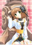 1girl 2012 alvin_(tales_of_xillia) artist_name back-to-back bike_shorts bow brown_hair coat dated detached_collar flower green_eyes hair_bow hairband leia_roland minazoi_kuina short_hair smile tales_of_(series) tales_of_xillia