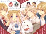 5boys ahoge axis_powers_hetalia bishoujo_senshi_sailor_moon black_hair blonde_hair blue_eyes blush bow bowtie brown_hair canada_(hetalia) chibi crossover double_bun everyone glasses glasses_removed green_eyes green_hair jacket japan_(hetalia) kaburagi_t_kotetsu kaiou_michiru keith_goodman kumajirou_(hetalia) multiple_boys multiple_girls nanami_haruka necktie purple_eyes red_hair redhead ribbon school_uniform shinomiya_natsuki short_hair smile surprised tiger_&_bunny tsukino_usagi tukino_(panna) twintails uta_no_prince-sama violet_eyes wink