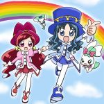 blue_hair chypre_(heartcatch_precure!) coffret_(heartcatch_precure!) color_connection cosplay fine fine_(cosplay) fushigiboshi_no_futago_hime futago_hime hanasaki_tsubomi hat heartcatch_precure! kurumi_erika lowres multiple_girls pantyhose precure puni_(artist) rainbow red_hair redhead rein rein_(cosplay) skirt white_legwear