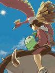 1boy backpack bag baseball_cap bird black_hair chikorita donphan gold_(pokemon) hat ho-oh moiko pokemon pokemon_(creature) pokemon_(game) pokemon_hgss randoseru riding sky sun