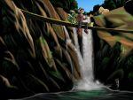 1boy backpack bag bandana bandanna eating feebas gloves grovyle highres nature onigiri pokemon pokemon_(creature) pokemon_(game) pokemon_rse randoseru river shitappa_13-gou sitting water waterfall yuuki_(pokemon)