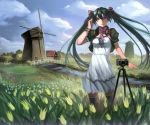 absurdres aqua_eyes aqua_hair bolero camera cropped_jacket dress hatsune_miku headphones headphones_around_neck highres long_hair looking_at_viewer scenery solo thigh-highs thighhighs twintails vocaloid white_dress windmill yykuaixian