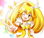;d blonde_hair blush bowtie brooch choker cure_peace dress female hair_ornament happy jewelry kise_yayoi long_hair magical_girl open_mouth ponytail precure pretty_cure rainbow_order smile smile_precure! solo star taroimo v white_background wink wrist_cuffs yellow_dress yellow_eyes