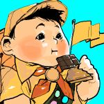 1boy aram bandana bandanna black_eyes black_hair cap chocolate disney eating flag hat looking_away lowres pixar russell_(up) sash shirt solo up