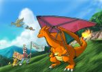 black_hair charizard doduo english fearow flying grass hat nature pokemon pokemon_(creature) pokemon_(game) pokemon_rgby raichu red_(pokemon) red_(pokemon)_(classic) shitappa_13-gou sky tree
