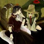 album_cover bad_id black_hair black_sclera blonde_hair cover creepy frog hat loalo long_tongue looking_at_viewer mirror moriya_suwako multiple_girls red_eyes shide shimenawa short_hair smile snake tongue tongue_out touhou yasaka_kanako
