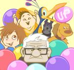 2girls 4boys :d :p age_difference alpha_(up) androgynous balloon bird black_eyes black_hair brown_eyes brown_hair carl_fredricksen disney dog dug_(up) ellie_fredricksen feathers glasses kevin_(up) looking_at_viewer missing_tooth multiple_boys multiple_girls open_mouth pixar reverse_trap ro_riran russell russell_(up) smile title_drop tomboy tongue tongue_out up white_hair young