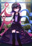 1girl adapted_costume asymmetrical_wings bangs black_dress black_footwear black_gloves black_hair black_legwear blue_wings blush boots buttons center_frills closed_mouth commentary_request dress elbow_gloves feet_out_of_frame frilled_dress frills gloves hair_between_eyes heart heart_hands highres houjuu_nue indoors looking_at_viewer medium_hair mismatched_gloves red_eyes red_wings sleeveless sleeveless_dress smile snake solo thigh-highs tomoe_(fdhs5855) touhou tree ufo window wings