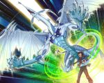 card claws dragon duel_monster fudou_yuusei gloves holding holding_card male multicolored_hair open_mouth stardust_dragon synchro_summon teeth wings yna yu-gi-oh! yuu-gi-ou yuu-gi-ou_5d's yuu-gi-ou_5d's