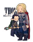 anger_vein avengers beard blonde_hair cape character_name chibi facial_hair hammer height_difference laphy loki_(marvel) marvel multiple_boys staff thor_(marvel)