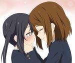 black_hair brown_hair closed_eyes comforting eyes_closed hands_on_another's_face hands_on_another's_face hirasawa_yui ikari_manatsu k-on! long_hair multiple_girls nakano_azusa school_uniform short_hair tears twintails