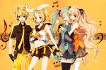 3girls animal_ears aqua_hair ascot bare_shoulders belt black_legwear blonde_hair blue_eyes bow closed_eyes crop_top eyes_closed fake_animal_ears gloves hair_bow hatsune_miku headset hug joanna_(mojo!) kagamine_len kagamine_rin koi_wa_sensou_(vocaloid) long_hair looking_at_viewer midriff miniskirt multiple_girls musical_note necktie note open_mouth pants petite seeu shirt short_hair short_pants short_shorts shorts signature skirt sleeves_past_wrists smile staff_(music) standing thigh-highs thighhighs treble_clef treble_cleff very_long_hair vocaloid watermark white_legwear yellow_background zettai_ryouiki