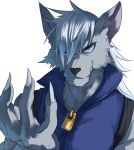 blue_eyes fingernails furry grin jonasan long_fingernails long_hair long_nails male precure smile smile_precure! solo werewolf white_background white_hair wolfrun