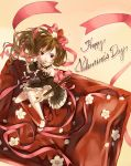 bare_shoulders bow brooch detached_collar detached_sleeves dress flower food food_as_clothes foreshortening from_above fruit green_hair hair_bow hair_flower hair_ornament happy_valentine jewelry long_hair mary_janes original outstretched_arm petals pocky ponytail purple_eyes ribbon shoes solo strawberry tomiwo valentine violet_eyes