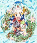 1girl blue_hair gensei-225 highres hikari_(pokemon) long_hair open_mouth piplup pokemon pokemon_(anime) pokemon_(creature) poketch scarf shaymin watch wristwatch zorua