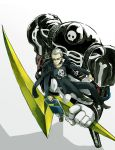 belt blonde_hair bullet chair dual_persona folding_chair glasses highres jacket jacket_on_shoulders jewelry jolly_roger lightning_bolt long_sleeves looking_down multiple_boys necklace notmo pants persona persona_4 scar shoes short_hair skull_and_crossbones sunglasses take-mikazuchi tatsumi_kanji widow's_peak widow's_peak