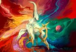 abstract_background arceus arms_up commentary floating kimbo-demonica looking_at_viewer no_humans planet pokemon red_eyes signature solo