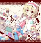 alice_margatroid blonde_hair blue_eyes blush bow cake capelet cookie cup finger_to_mouth food fruit hair_bow hairband heart kiwifruit macaron meiya_neon notebook orange pen scissors shanghai_doll short_hair sitting solo spoon strawberry sugar teapot thread touhou