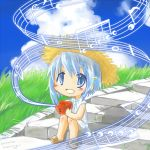 1girl :d blue_eyes blue_hair blush chibi cloud clouds grass hair_ornament hat leowings mahou_shoujo_madoka_magica miki_sayaka music_box musical_note open_mouth sandals short_hair sitting sky smile solo straw_hat
